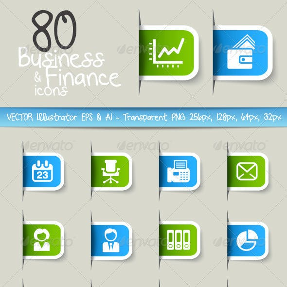 80 Business and Finance Icons - Label