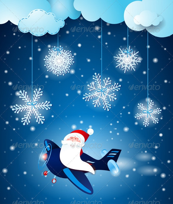 Santa on the Airplane - Christmas Seasons/Holidays