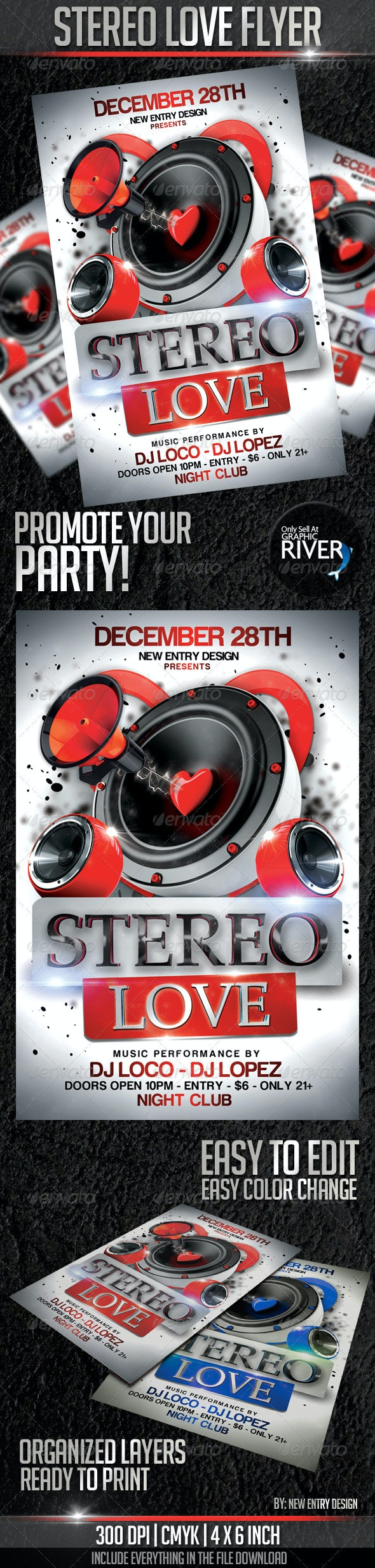 Stereo Love Flyer Template - Clubs & Parties Events