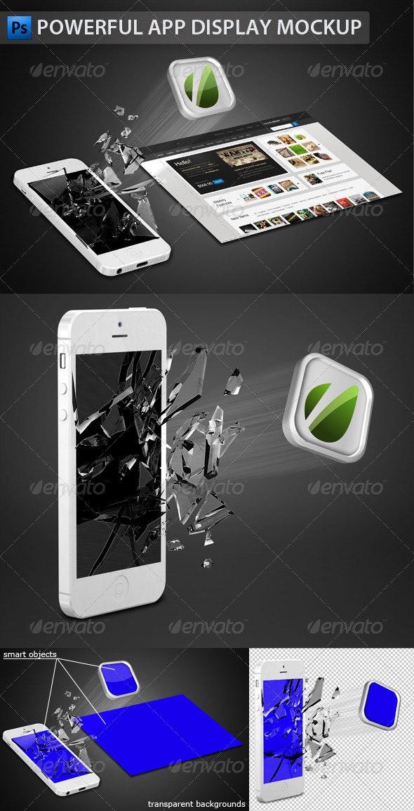 White Phone App Display Mockup - Mobile Displays