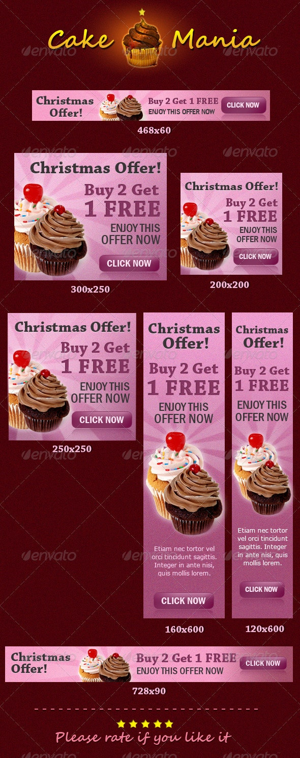 Cake Mania Banners - Banners & Ads Web Elements
