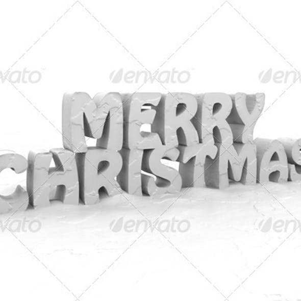 Merry Christmas 3D Render - Snow Covered