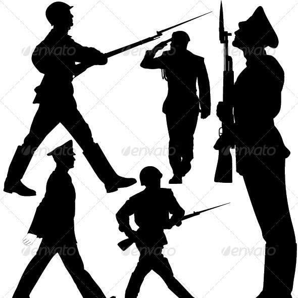 Parade, Soldiers Marching, Sentry Guard Silhouette