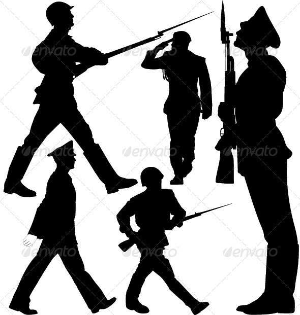Parade, Soldiers Marching, Sentry Guard Silhouette - People Characters
