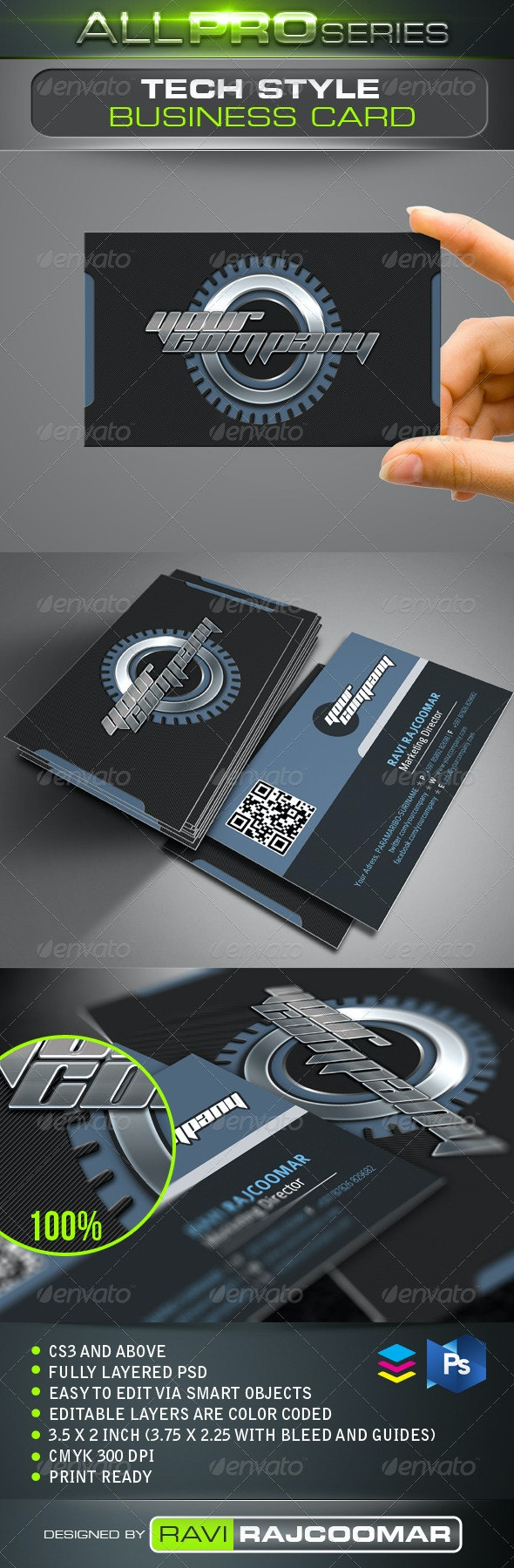 Tech Style Business Card - Creative Business Cards