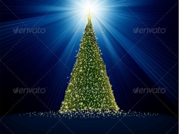 Abstract Green Christmas Tree on Blue - Christmas Seasons/Holidays