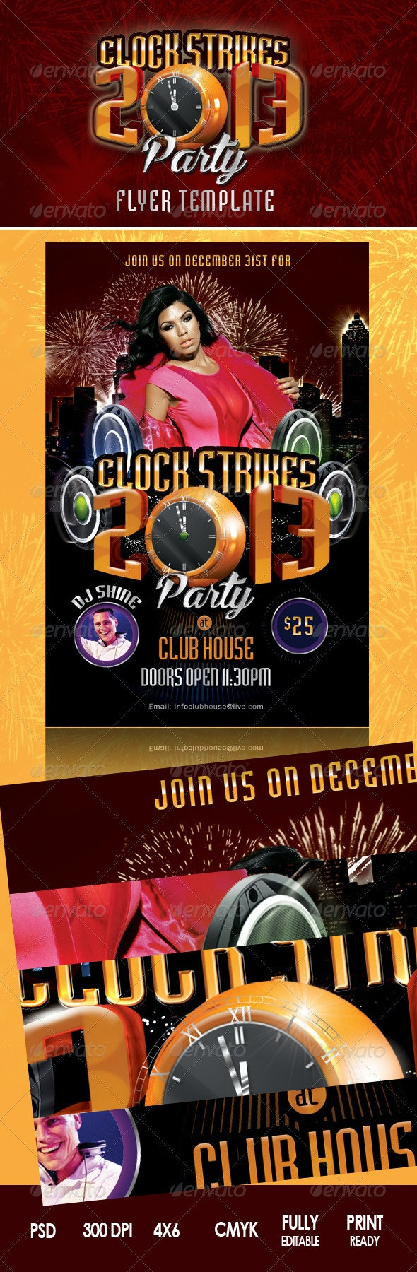 Clock Strikes 2013 Party Flyer - Clubs & Parties Events