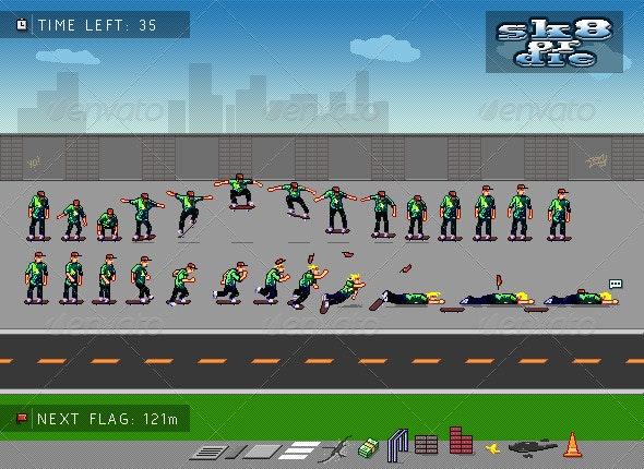 Retro Skateboarding Game Scene - Sprite Sheets - Sprites Game Assets