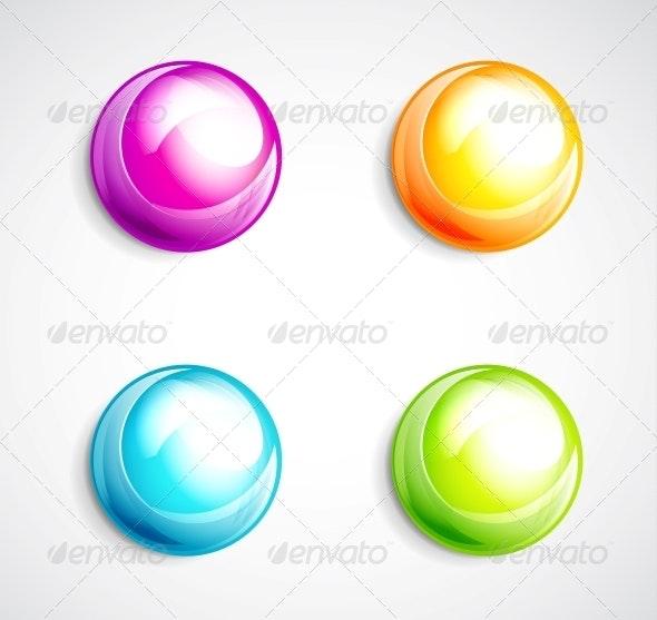 Colorful Bubble Buttons - Web Elements Vectors