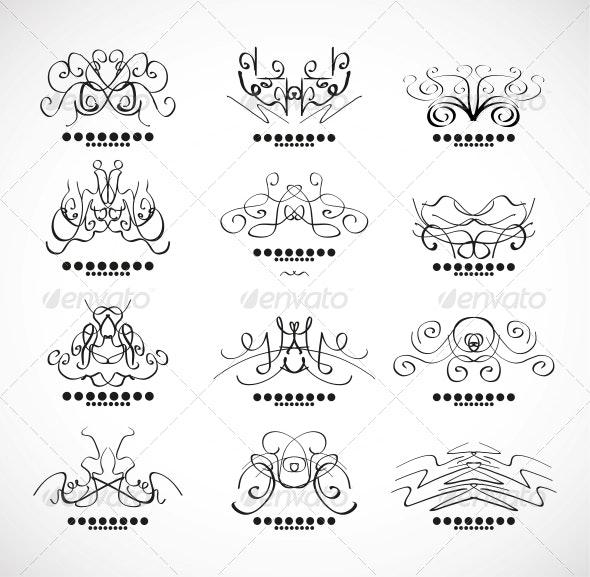Calligraphic Decoration Elements for Headline - Flourishes / Swirls Decorative