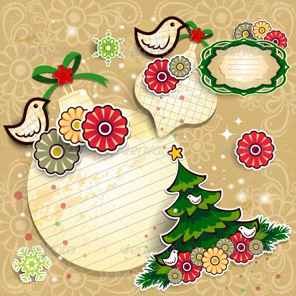 Paper Ball Tree and Flowers - Christmas Seasons/Holidays