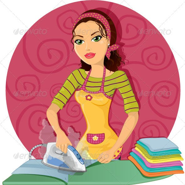 Housewife Ironing