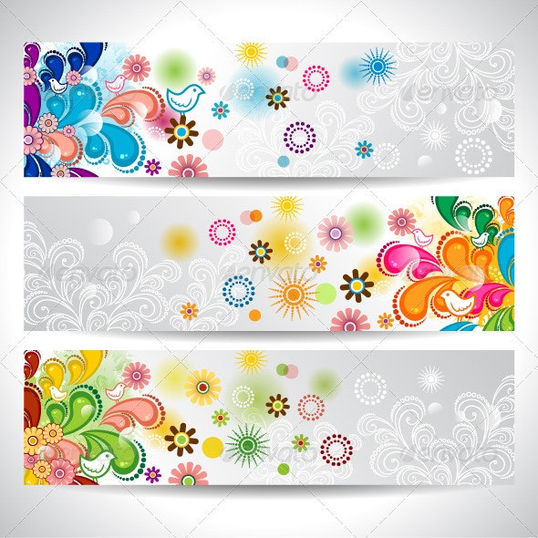 Banner Floral and Birds - Backgrounds Decorative