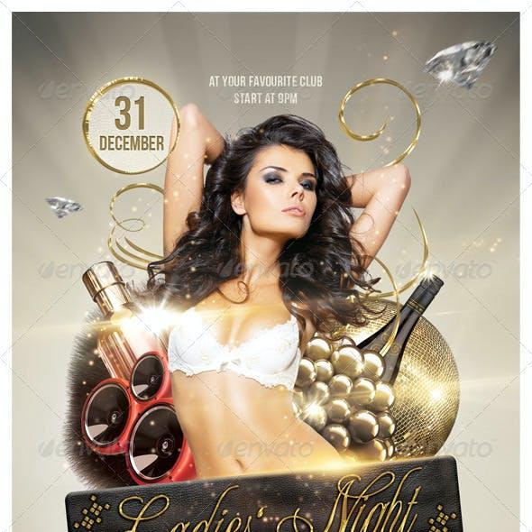 Golden Ladies Party Flyer 6 x 4