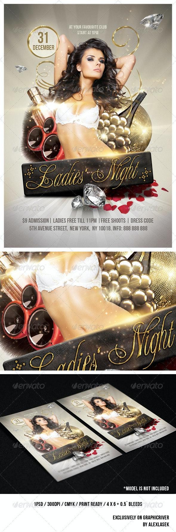 Golden Ladies Party Flyer 6 x 4 - Clubs & Parties Events