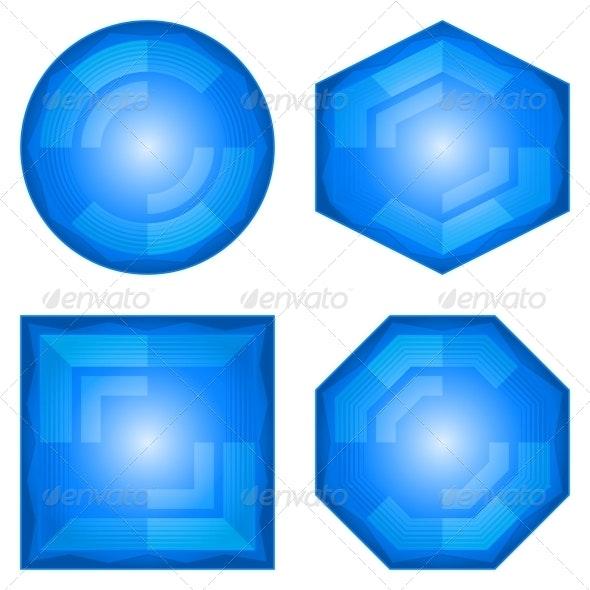 Blue Icon Buttons Set - Web Elements Vectors