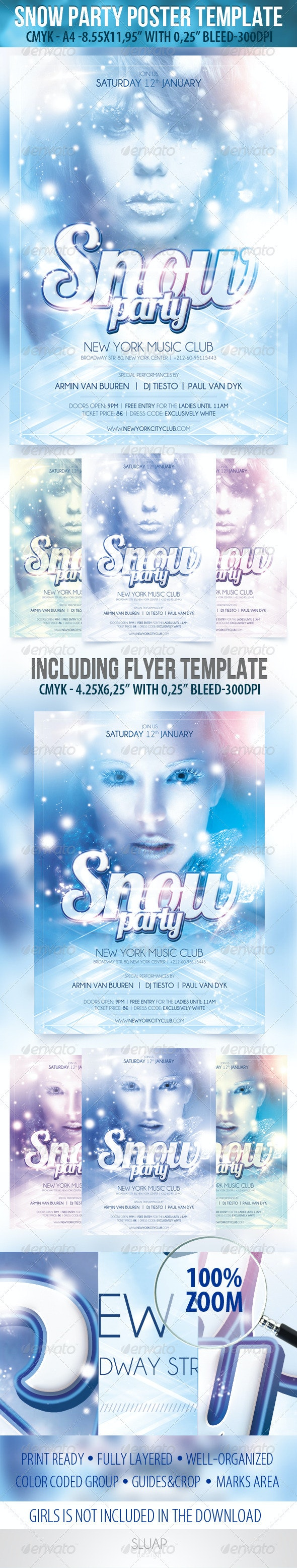 Snow Party-Poster Template & Snow Party-Flyer Temp - Events Flyers
