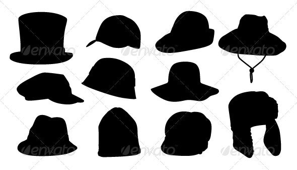 Silhouettes of Different Hats - Man-made Objects Objects
