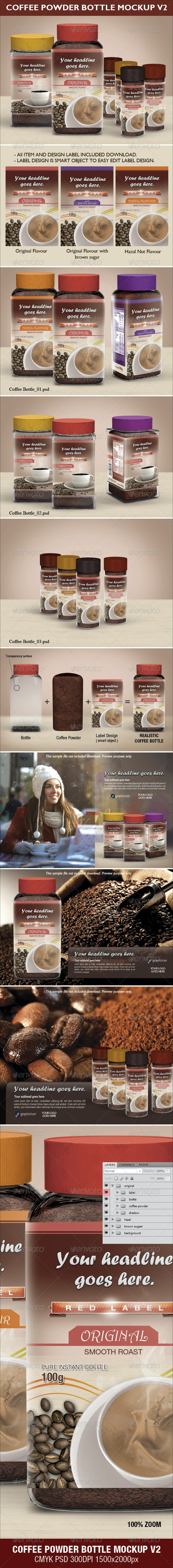 Coffee Power Bottle Mock-up V2 - Food and Drink Packaging