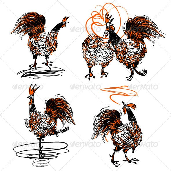 Roosters and a Hen Set
