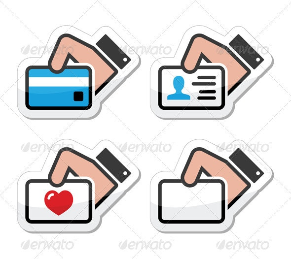 Hand Holding Credit Card, Business Card, ID Icons  - Web Elements Vectors