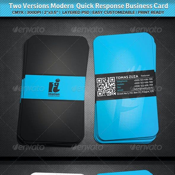 Two Versions Modern Quick Response Business Card