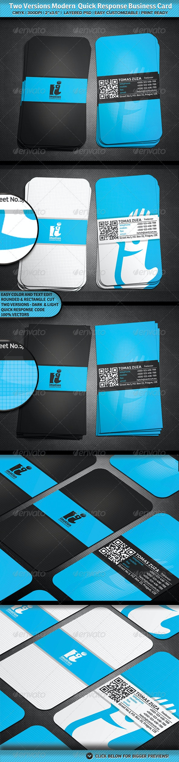Two Versions Modern Quick Response Business Card - Corporate Business Cards