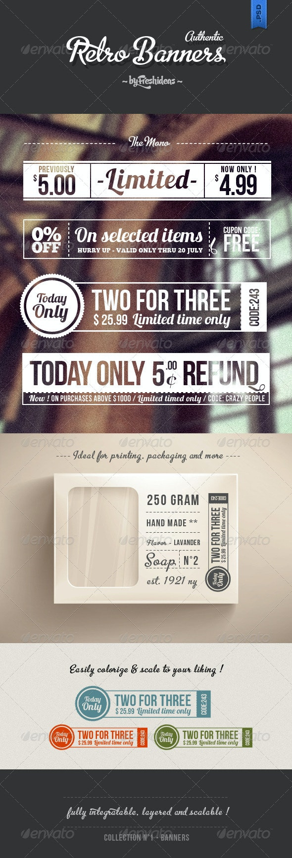 Set of 4 Retro Banners - Banners & Ads Web Elements