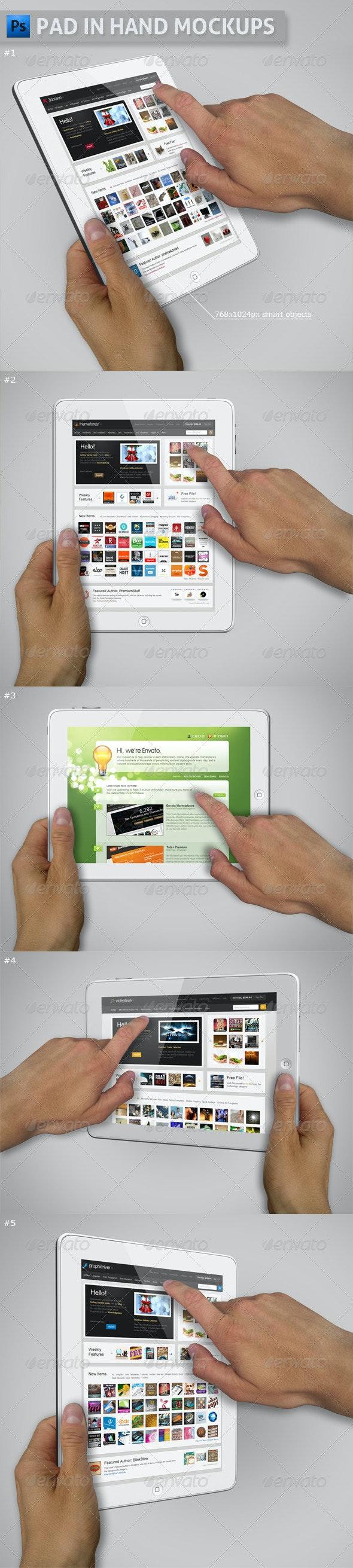 Pad in Hand Mockups - Mobile Displays