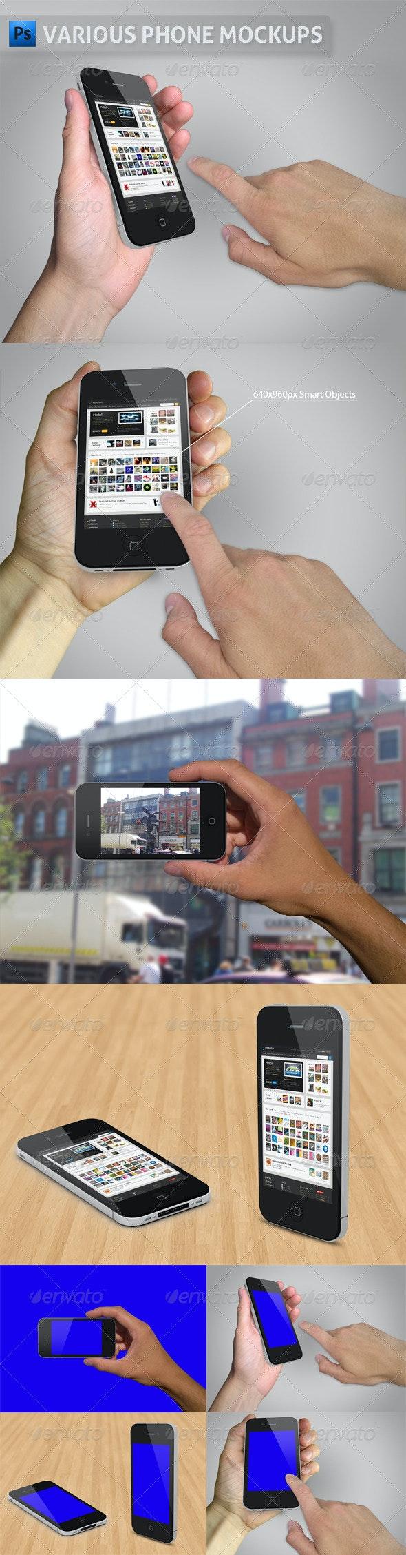 Various Phone Mockups - Mobile Displays