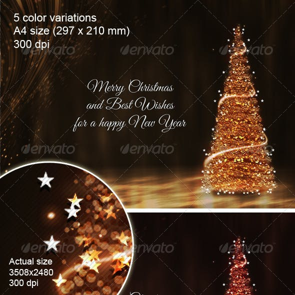 Gold Christmas Background with X-mas Tree
