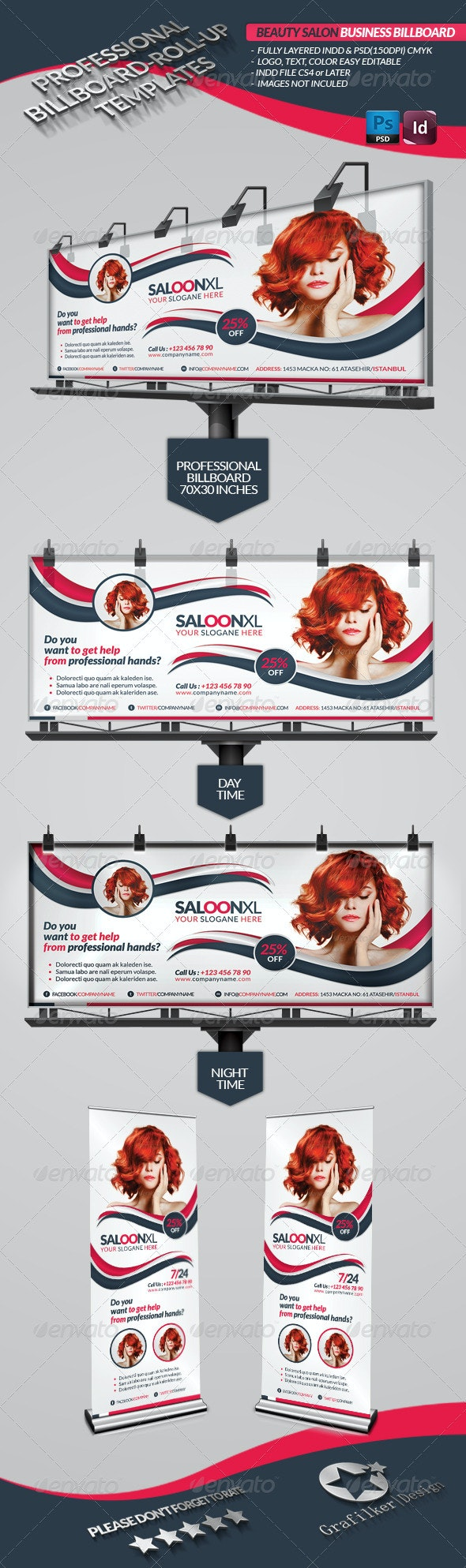 Beauty Salon Business Billboard Roll-up - Signage Print Templates