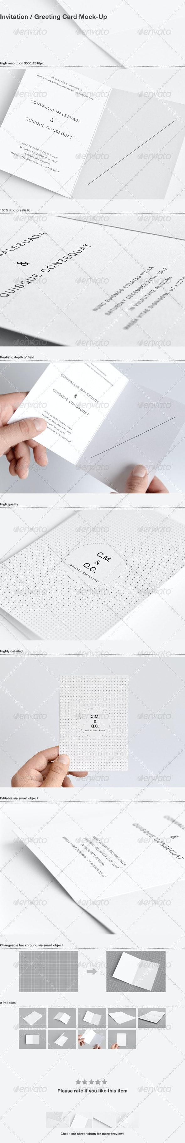 Invitation / Greeting Card Mock-Up - Miscellaneous Print