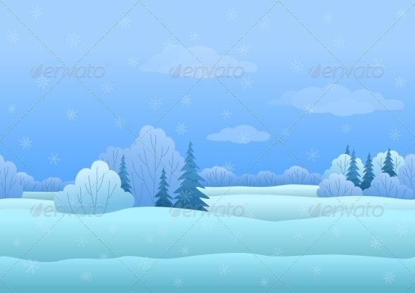 Seamless Winter Landscape - Landscapes Nature