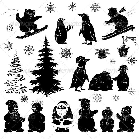Christmas Cartoon Set Silhouettes - Christmas Seasons/Holidays