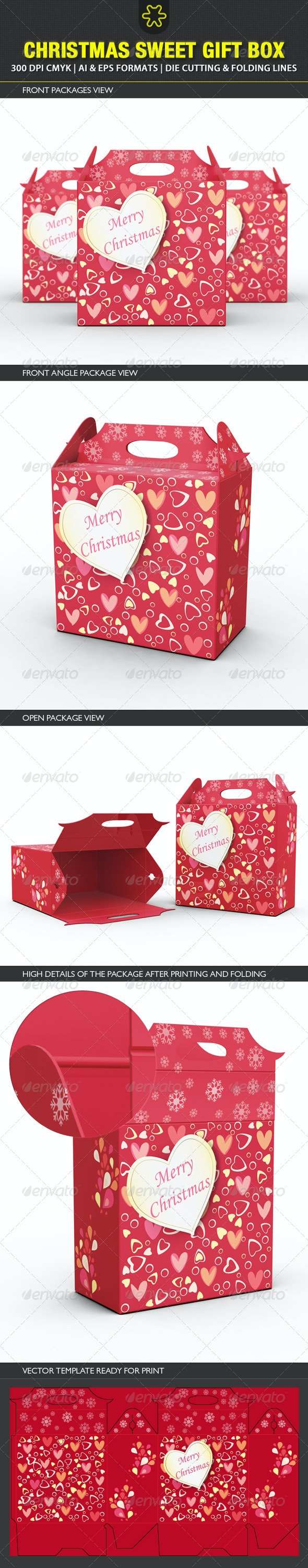 Christmas Sweet Gift Box Template - Packaging Print Templates