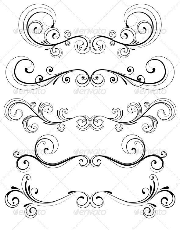 Floral Decorative Elements - Flourishes / Swirls Decorative