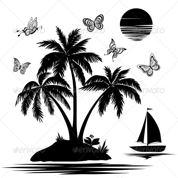 Silhouettes of Island with Palm, Ship, Butterflies