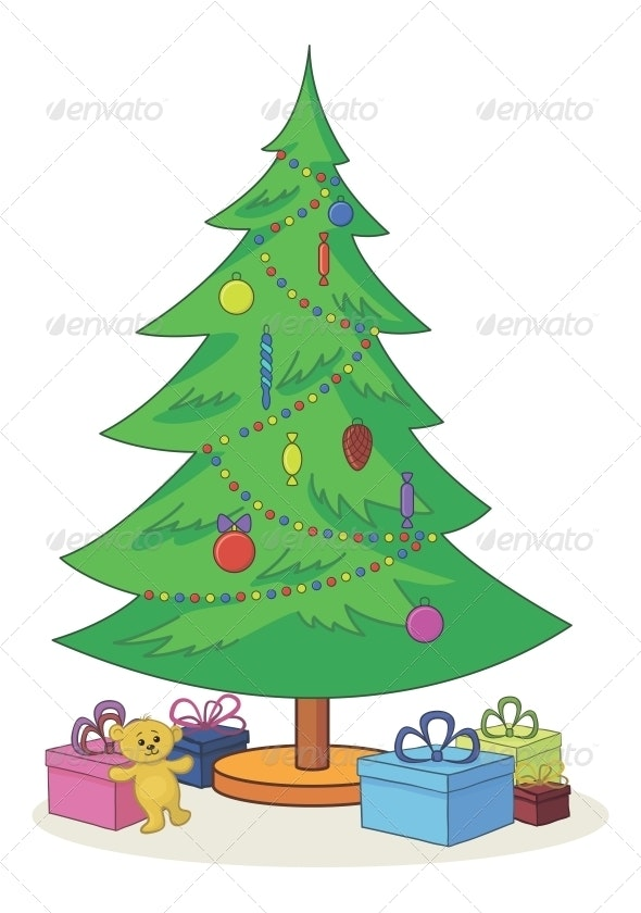 Christmas Tree with Toys and Gift Boxes - Christmas Seasons/Holidays