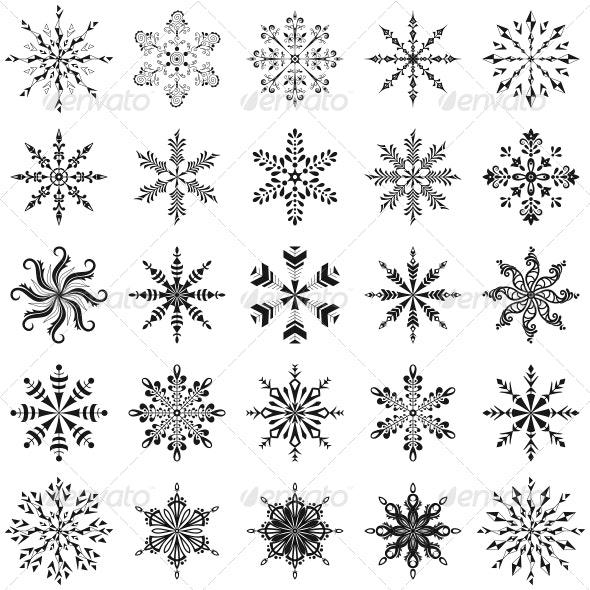 Snowflakes Outline Set - Christmas Seasons/Holidays