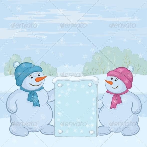 Snowmen with Sign - Christmas Seasons/Holidays