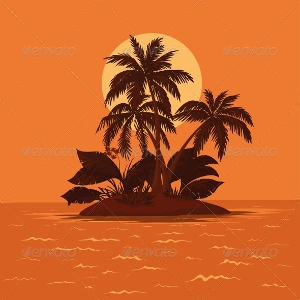 Island with Palm and Sun - Landscapes Nature