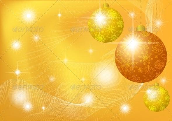 Christmas Background with Stars and Balls - Christmas Seasons/Holidays