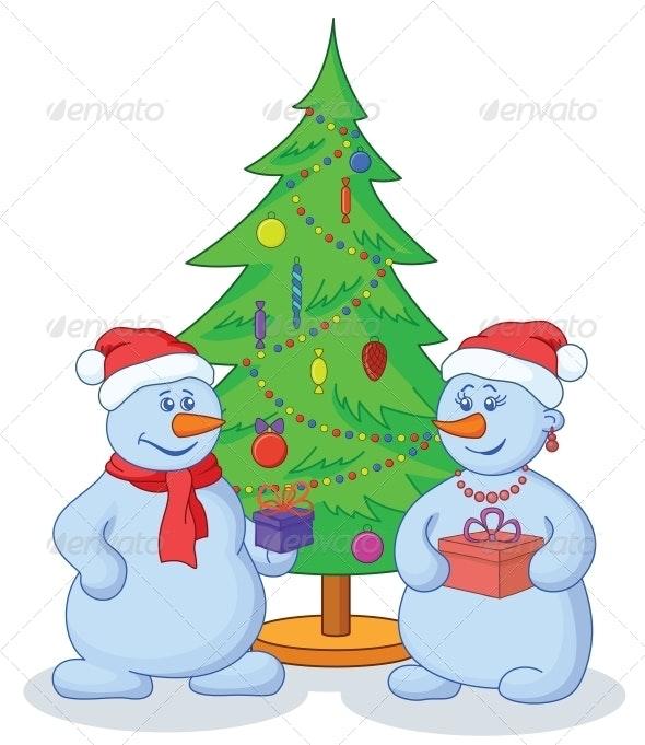 Snowmen and Christmas Tree - Christmas Seasons/Holidays
