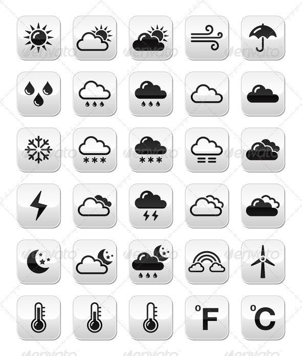 Weather Forecast Buttons Set - Web Elements Vectors