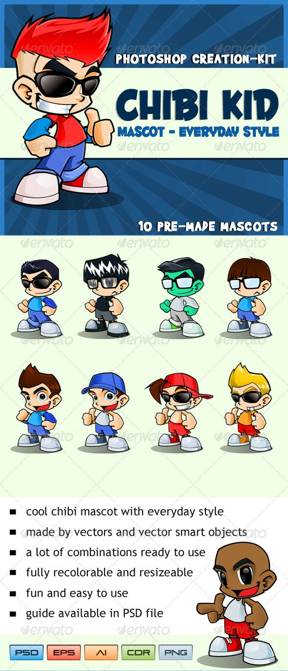 Chibi Kid Mascot - Everyday Style - People Characters