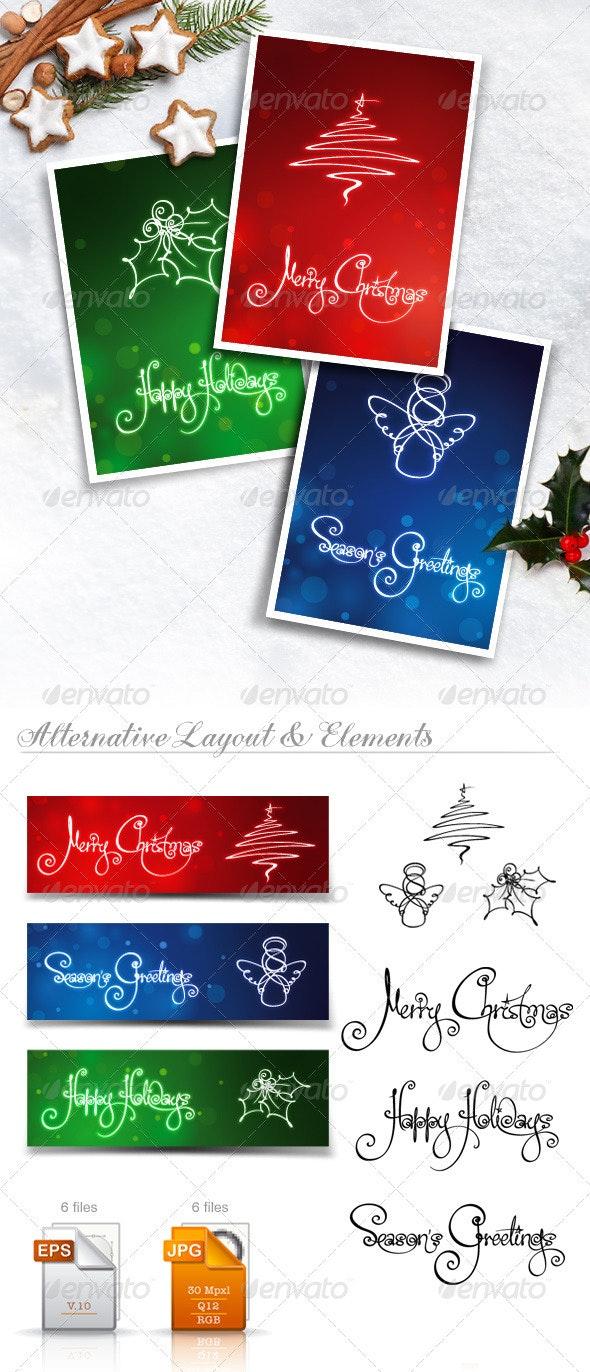 Three Christmas Cards & Banners - Christmas Seasons/Holidays
