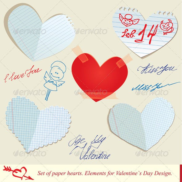 Set of Paper Hearts