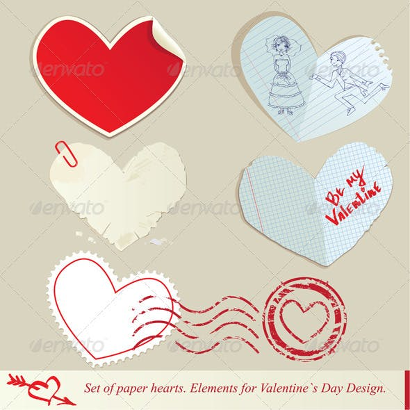 Set of Paper Hearts - Elements for Valentine's Day
