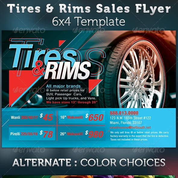 Tires and Rims Sales Ad Flyer Template